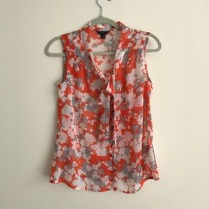 Sheer floral top with bow